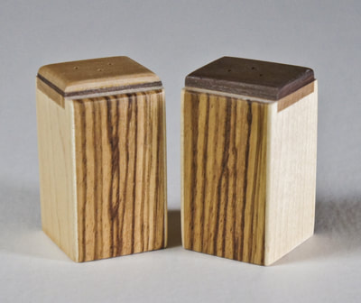 Handcrafted wood salt & pepper shakers